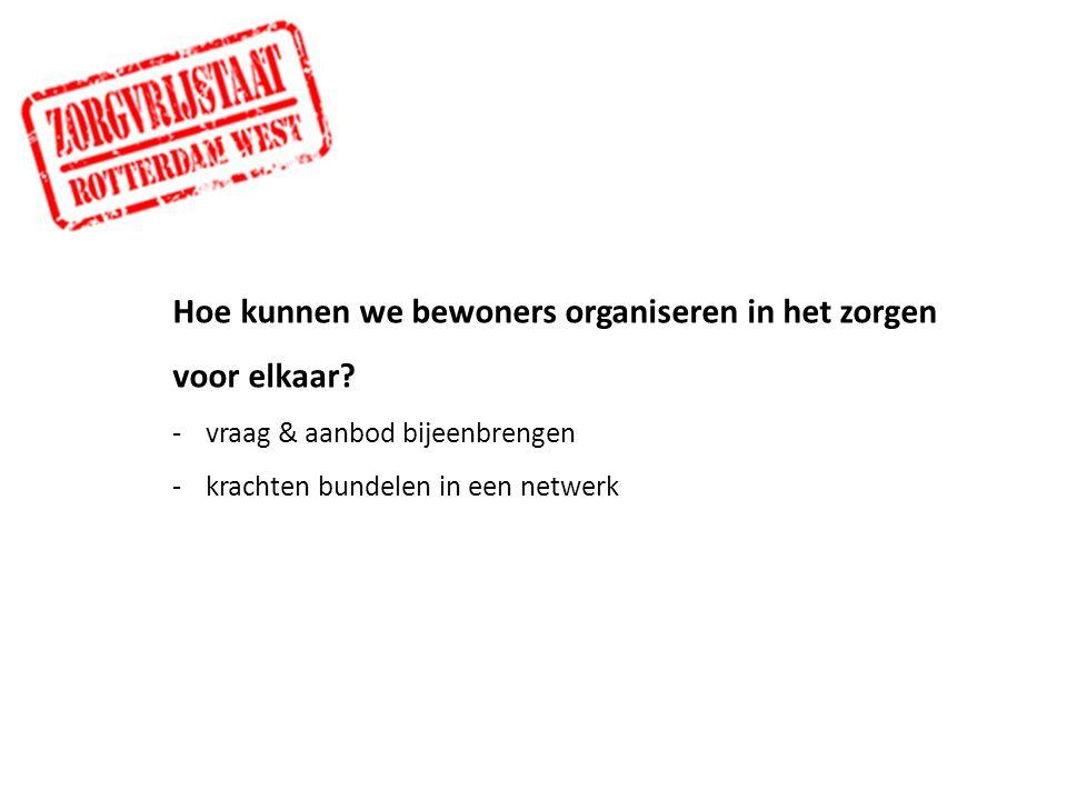 Hoe kunnen we bewoners organiseren in het zorgen voor elkaar? -vraag & aanbod bijeenbrengen -krachten bundelen in een netwerk