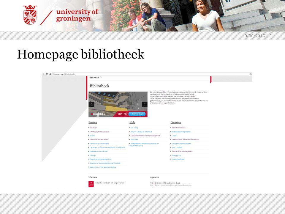 Homepage bibliotheek 3/30/2015 | 5