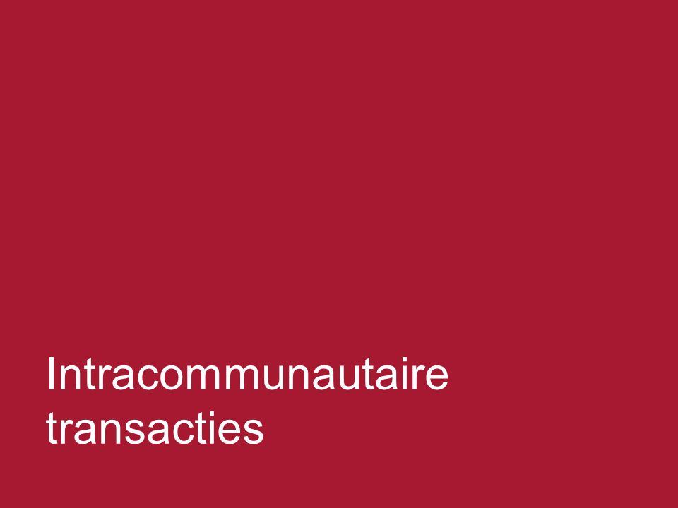 Intracommunautaire transacties