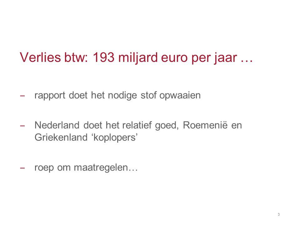 Opinie VAT Expert Group van 12 juni 2014 ‒ huidige stelsel belemmert EU handel ‒ huidige stelsel leidt tot hoge administratieve kosten voor bedrijfsleven ‒ huidige stelsel risicovol voor bedrijfsleven en overheden ‒ voorstel: aktie van stakeholders!
