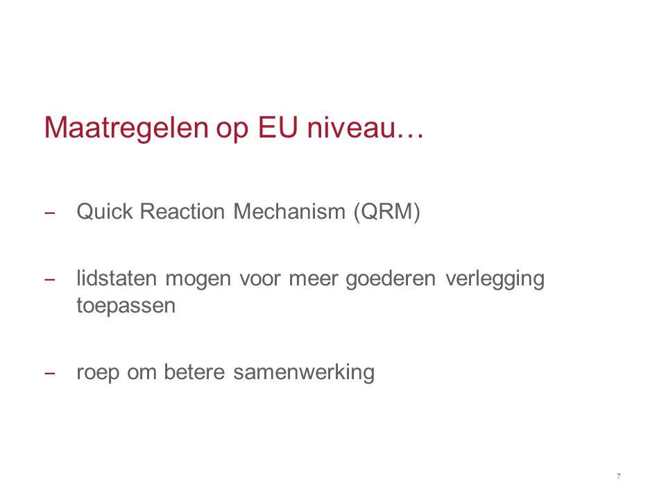 Maatregelen op EU niveau… ‒ Quick Reaction Mechanism (QRM) ‒ lidstaten mogen voor meer goederen verlegging toepassen ‒ roep om betere samenwerking 7