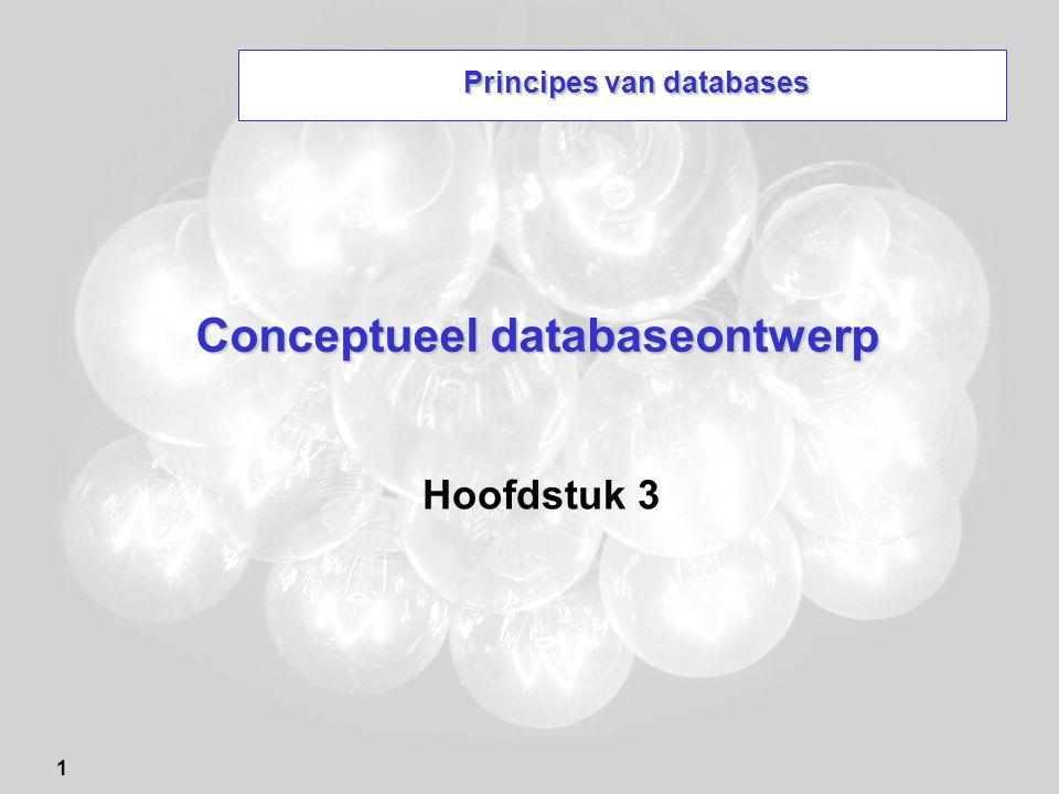 1 Conceptueel databaseontwerp Hoofdstuk 3 Principes van databases