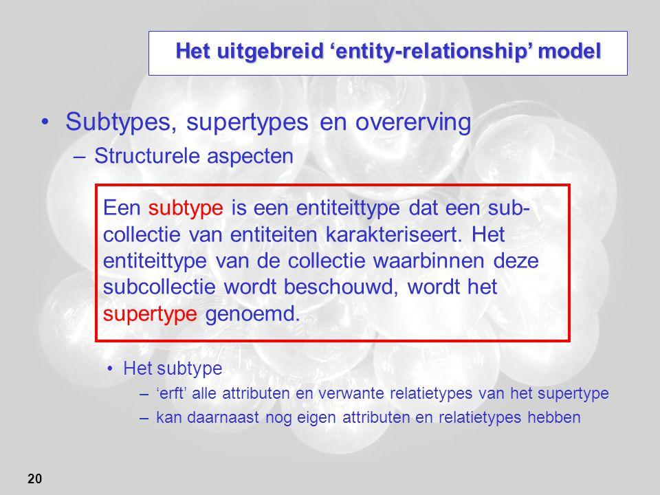 20 Het uitgebreid 'entity-relationship' model Subtypes, supertypes en overerving –Structurele aspecten Het subtype –'erft' alle attributen en verwante relatietypes van het supertype –kan daarnaast nog eigen attributen en relatietypes hebben Een subtype is een entiteittype dat een sub- collectie van entiteiten karakteriseert.