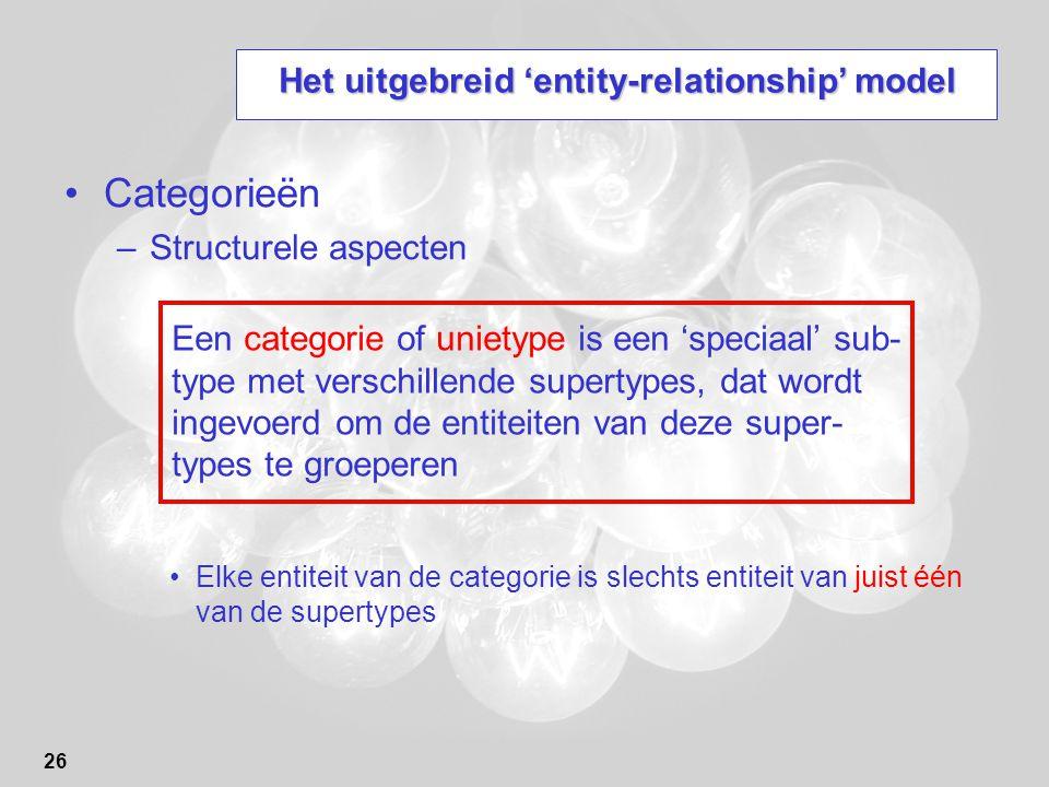 26 Het uitgebreid 'entity-relationship' model Categorieën –Structurele aspecten Elke entiteit van de categorie is slechts entiteit van juist één van de supertypes Een categorie of unietype is een 'speciaal' sub- type met verschillende supertypes, dat wordt ingevoerd om de entiteiten van deze super- types te groeperen