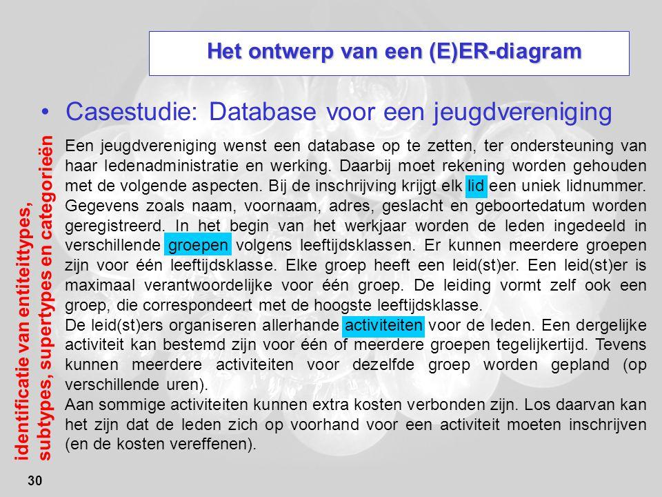 30 Het ontwerp van een (E)ER-diagram Casestudie: Database voor een jeugdvereniging Een jeugdvereniging wenst een database op te zetten, ter ondersteuning van haar ledenadministratie en werking.