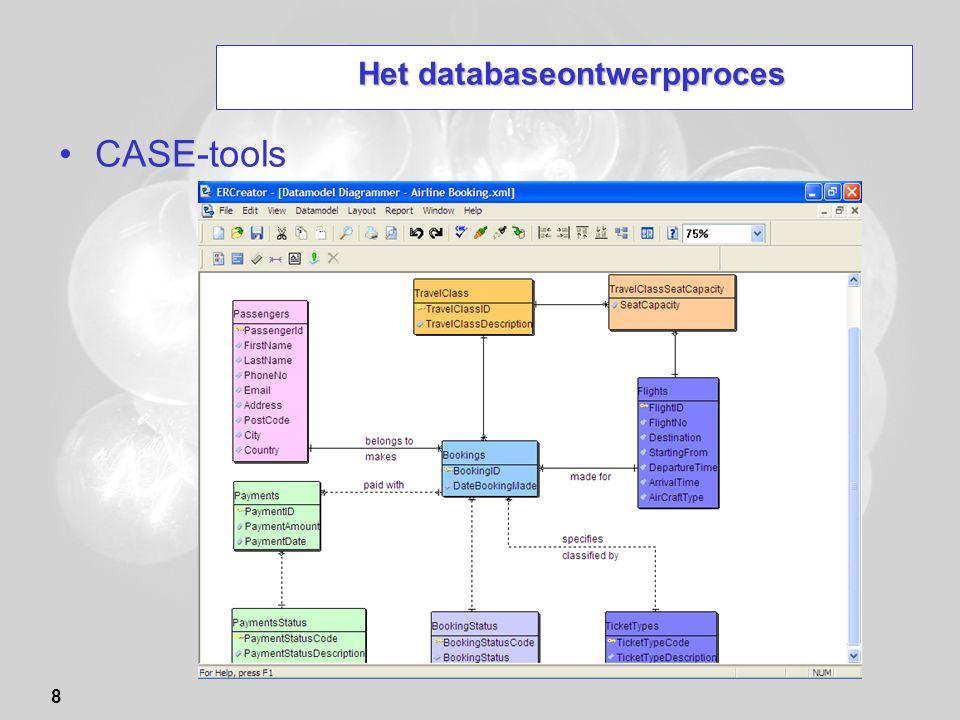 39 Het ontwerp van een (E)ER-diagram Casestudie: Database voor een softwarefirma Een softwarefirma wil een database opzetten als hulp bij het controleren en corrigeren van fouten die ontdekt worden in haar softwareproducten.