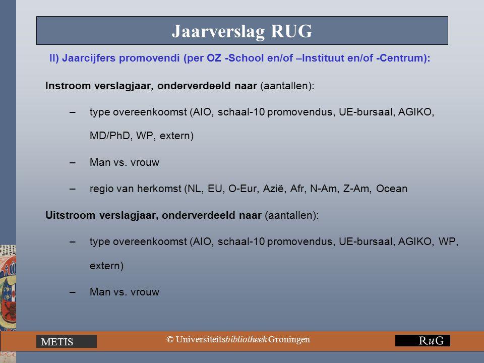 METIS © Universiteitsbibliotheek Groningen Jaarverslag RUG Instroom verslagjaar, onderverdeeld naar (aantallen): –type overeenkoomst (AIO, schaal-10 promovendus, UE-bursaal, AGIKO, MD/PhD, WP, extern) –Man vs.