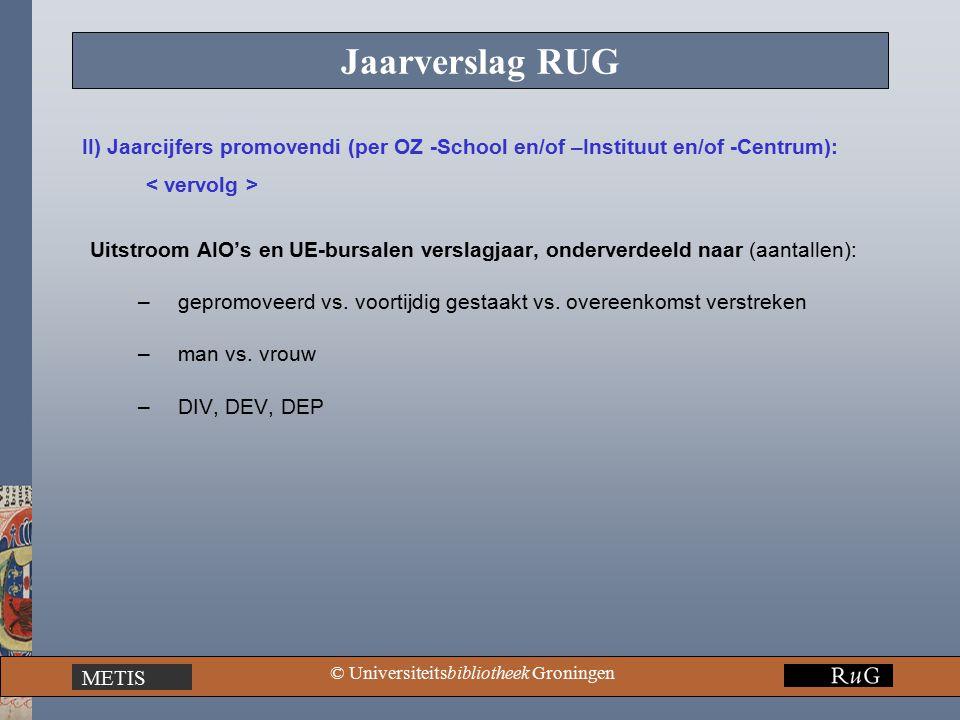 METIS © Universiteitsbibliotheek Groningen Jaarverslag RUG Uitstroom AIO's en UE-bursalen verslagjaar, onderverdeeld naar (aantallen): –gepromoveerd vs.