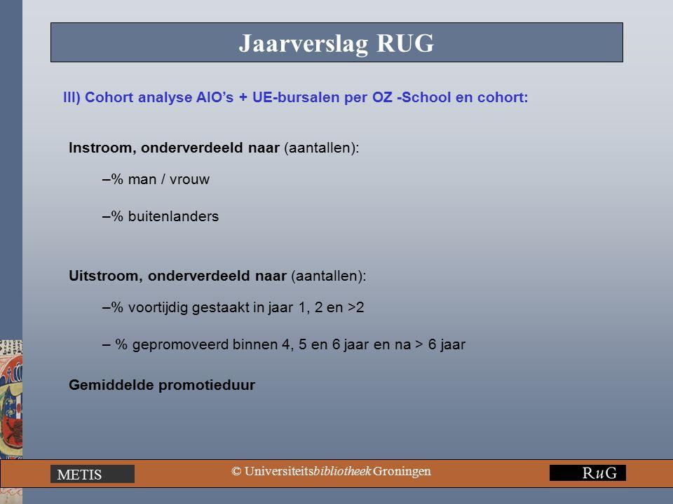 METIS © Universiteitsbibliotheek Groningen Jaarverslag RUG III) Cohort analyse AIO's + UE-bursalen per OZ -School en cohort: Instroom, onderverdeeld naar (aantallen): –% man / vrouw –% buitenlanders Uitstroom, onderverdeeld naar (aantallen): –% voortijdig gestaakt in jaar 1, 2 en >2 – % gepromoveerd binnen 4, 5 en 6 jaar en na > 6 jaar Gemiddelde promotieduur