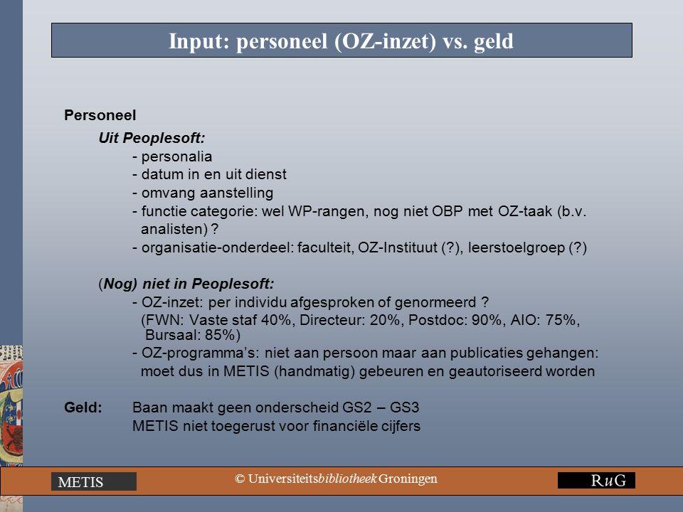 METIS © Universiteitsbibliotheek Groningen Input: personeel (OZ-inzet) vs.