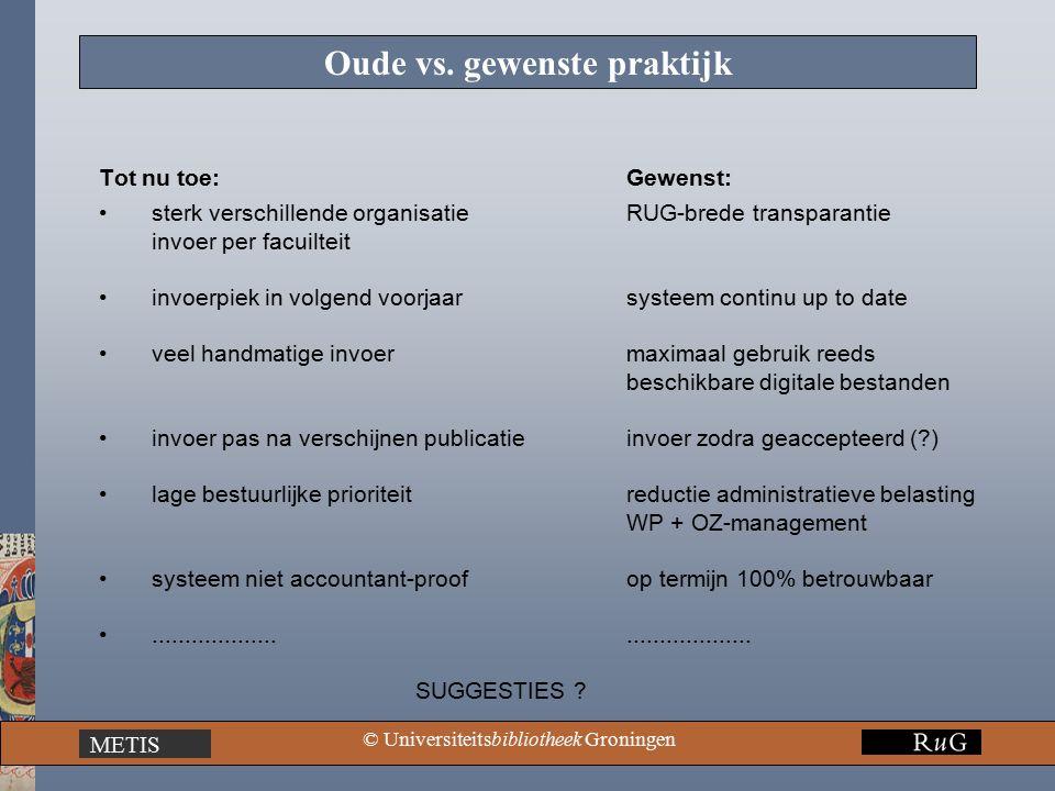 METIS © Universiteitsbibliotheek Groningen Oude vs.