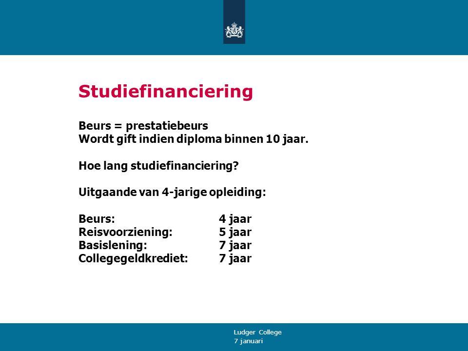 7 januari Ludger College Studiefinanciering Beurs = prestatiebeurs Wordt gift indien diploma binnen 10 jaar.