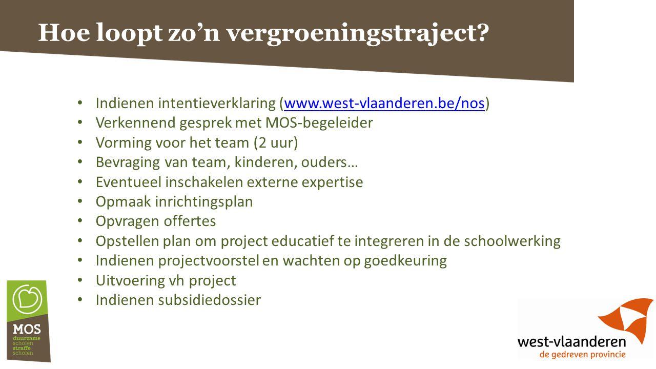 Hoe loopt zo'n vergroeningstraject? Indienen intentieverklaring (www.west-vlaanderen.be/nos)www.west-vlaanderen.be/nos Verkennend gesprek met MOS-bege