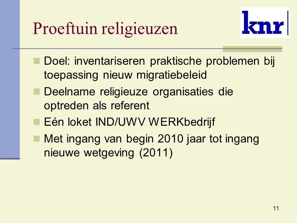 11 Proeftuin religieuzen Doel: inventariseren praktische problemen bij toepassing nieuw migratiebeleid Deelname religieuze organisaties die optreden als referent Eén loket IND/UWV WERKbedrijf Met ingang van begin 2010 jaar tot ingang nieuwe wetgeving (2011)