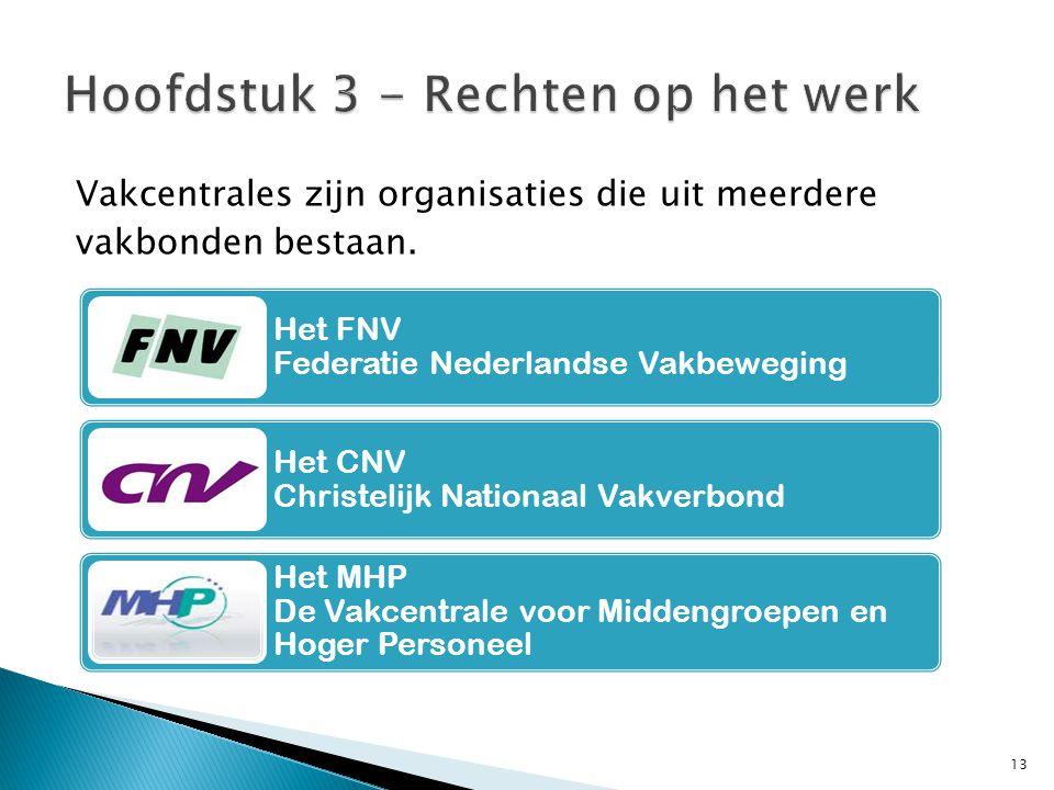 Vakcentrales zijn organisaties die uit meerdere vakbonden bestaan. 13 Het FNV Federatie Nederlandse Vakbeweging Het CNV Christelijk Nationaal Vakverbo