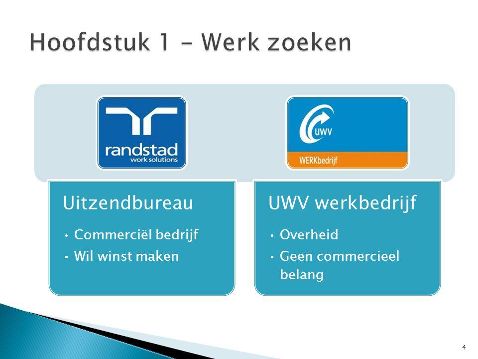 4 Uitzendbureau Commerciël bedrijf Wil winst maken UWV werkbedrijf Overheid Geen commercieel belang