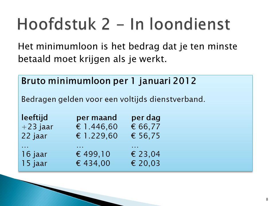 Het minimumloon is het bedrag dat je ten minste betaald moet krijgen als je werkt. 8 Bruto minimumloon per 1 januari 2012 Bedragen gelden voor een vol