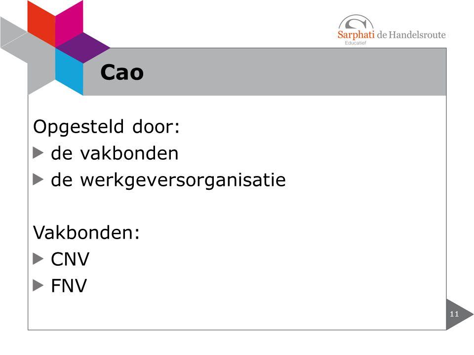 Opgesteld door: de vakbonden de werkgeversorganisatie Vakbonden: CNV FNV 11 Cao