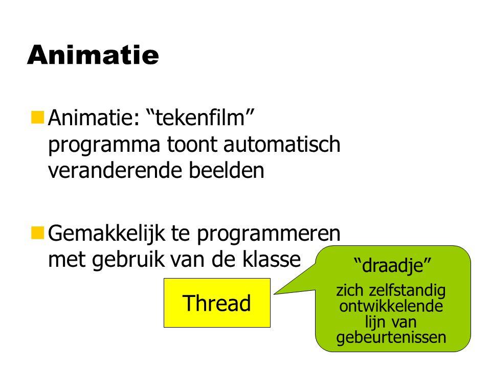 Animatie nAnimatie: tekenfilm programma toont automatisch veranderende beelden nGemakkelijk te programmeren met gebruik van de klasse Thread draadje zich zelfstandig ontwikkelende lijn van gebeurtenissen