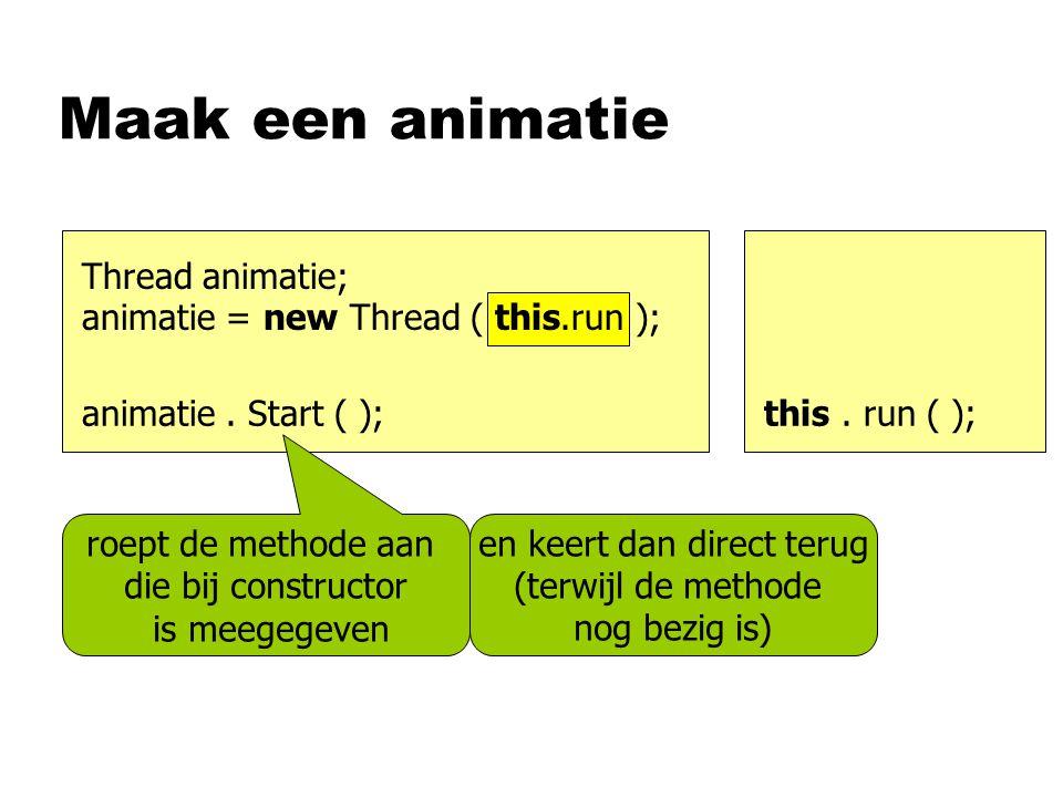 Maak een animatie animatie. Start ( );this. run ( ); roept de methode aan die bij constructor is meegegeven Thread animatie; animatie = new Thread ( t