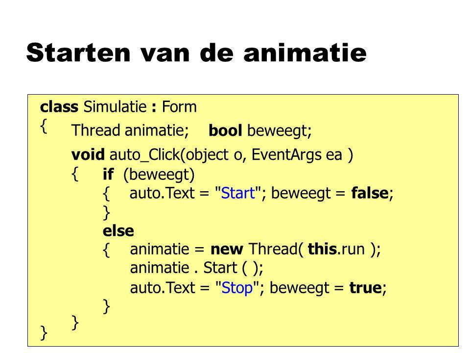 Starten van de animatie class Simulatie : Form { } void auto_Click(object o, EventArgs ea ) { } if (beweegt) { auto.Text = Start ; beweegt = false; } else { } animatie = new Thread( this.run ); animatie.