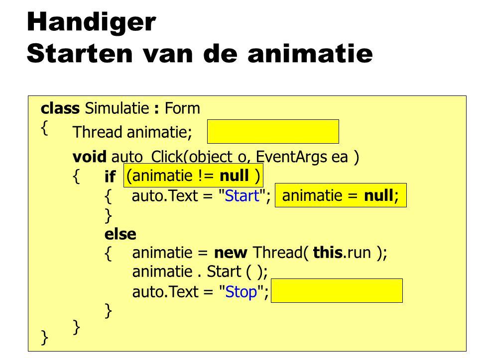 Handiger Starten van de animatie class Simulatie : Form { } void auto_Click(object o, EventArgs ea ) { } if (beweegt) { auto.Text = Start ; beweegt = false; } else { } animatie = new Thread( this.run ); animatie.