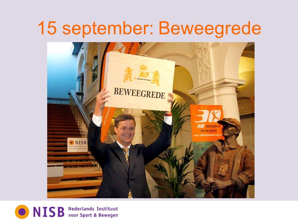 Den Haag, 15 september 2008: 30 organisaties + 30 beweegredenen + 30 minuten bewegen + 1 beweegrede + 1 staatssecretaris + 1 minister-president = Heel Nederland staat even stil bij bewegen.