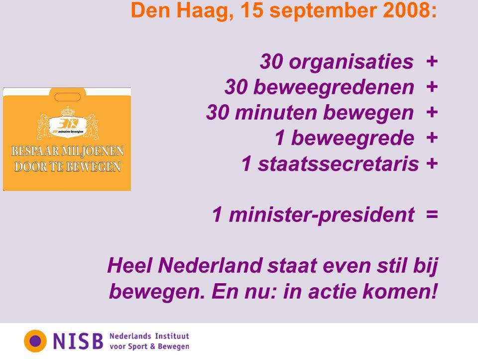Den Haag, 15 september 2008: 30 organisaties + 30 beweegredenen + 30 minuten bewegen + 1 beweegrede + 1 staatssecretaris + 1 minister-president = Heel