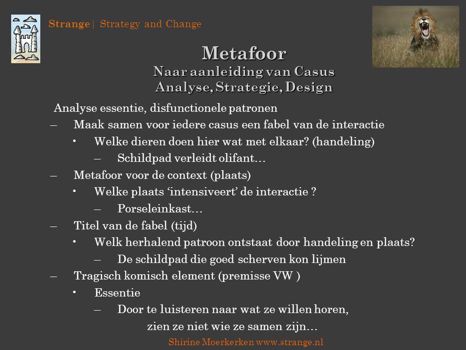 Strange | Strategy and Change Shirine Moerkerken www.strange.nl Metafoor Naar aanleiding van Casus Analyse, Strategie, Design Analyse essentie, disfun