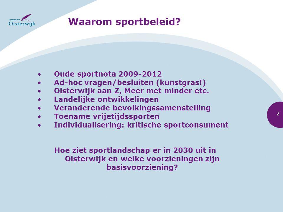 Waarom sportbeleid? Oude sportnota 2009-2012 Ad-hoc vragen/besluiten (kunstgras!) Oisterwijk aan Z, Meer met minder etc. Landelijke ontwikkelingen Ver