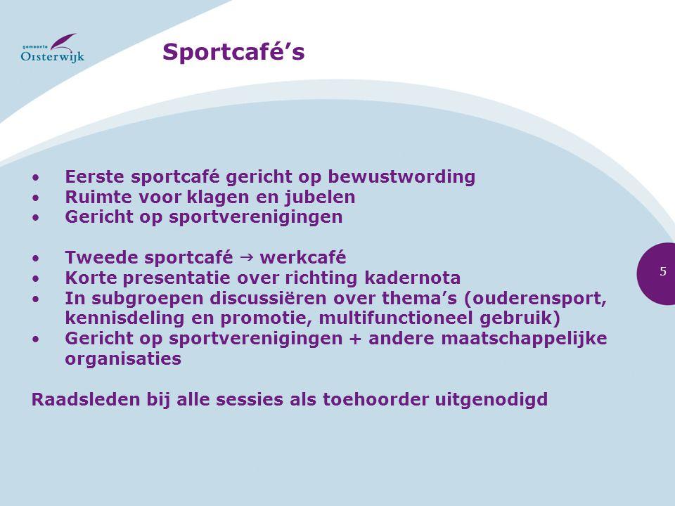 Sportcafé's Eerste sportcafé gericht op bewustwording Ruimte voor klagen en jubelen Gericht op sportverenigingen Tweede sportcafé  werkcafé Korte pre