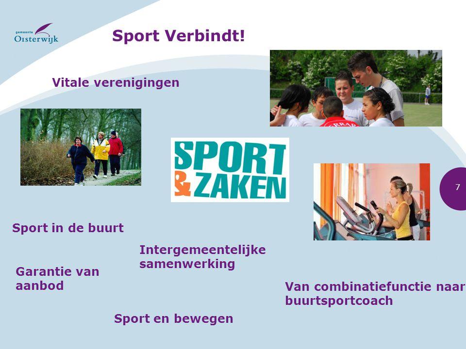 Sport Verbindt! Vitale verenigingen Intergemeentelijke samenwerking Van combinatiefunctie naar buurtsportcoach Sport in de buurt Sport en bewegen Gara