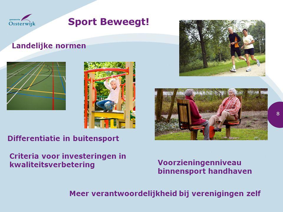Sport Beweegt! Landelijke normen Voorzieningenniveau binnensport handhaven Differentiatie in buitensport Meer verantwoordelijkheid bij verenigingen ze