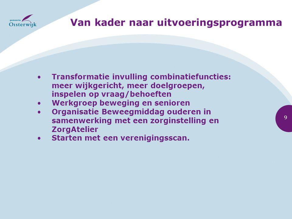Van kader naar uitvoeringsprogramma 9 Transformatie invulling combinatiefuncties: meer wijkgericht, meer doelgroepen, inspelen op vraag/behoeften Werk