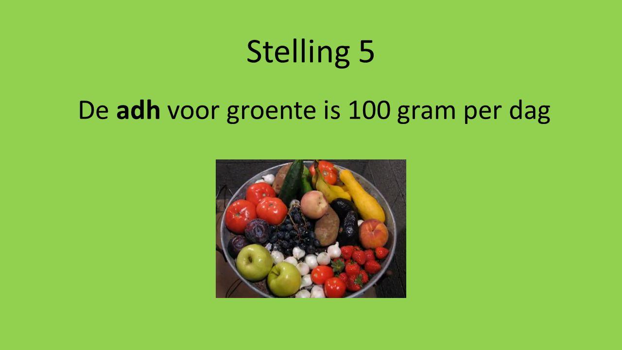 Stelling 5 De adh voor groente is 100 gram per dag
