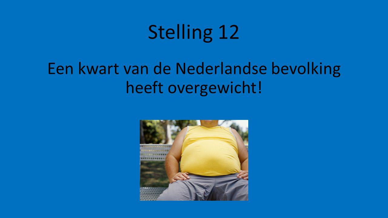 Stelling 12 Een kwart van de Nederlandse bevolking heeft overgewicht!