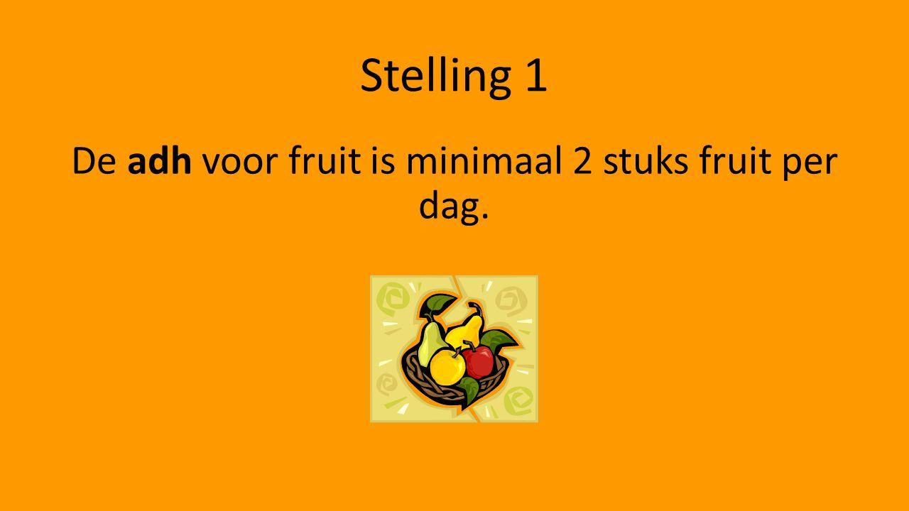 Stelling 1 De adh voor fruit is minimaal 2 stuks fruit per dag.