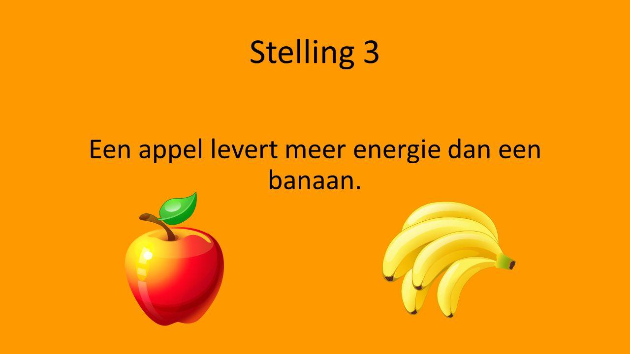Stelling 3 Een appel levert meer energie dan een banaan.