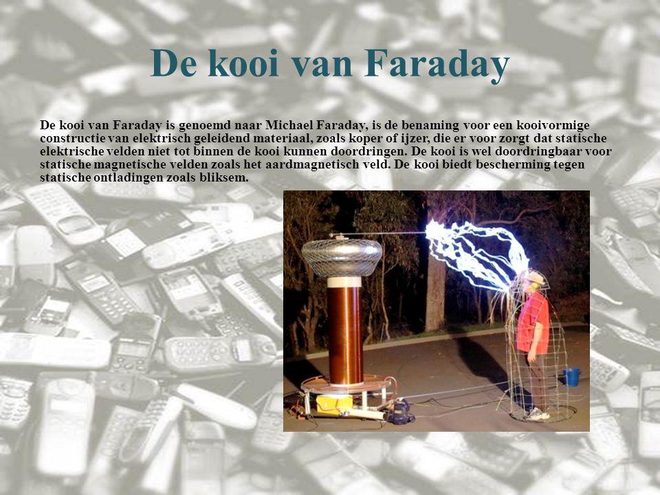 De kooi van Faraday De kooi van Faraday is genoemd naar Michael Faraday, is de benaming voor een kooivormige constructie van elektrisch geleidend materiaal, zoals koper of ijzer, die er voor zorgt dat statische elektrische velden niet tot binnen de kooi kunnen doordringen.
