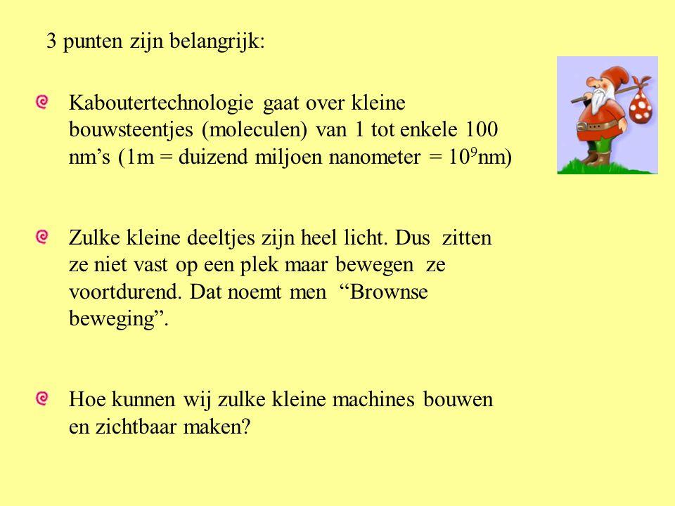 3 punten zijn belangrijk: Kaboutertechnologie gaat over kleine bouwsteentjes (moleculen) van 1 tot enkele 100 nm's (1m = duizend miljoen nanometer = 1