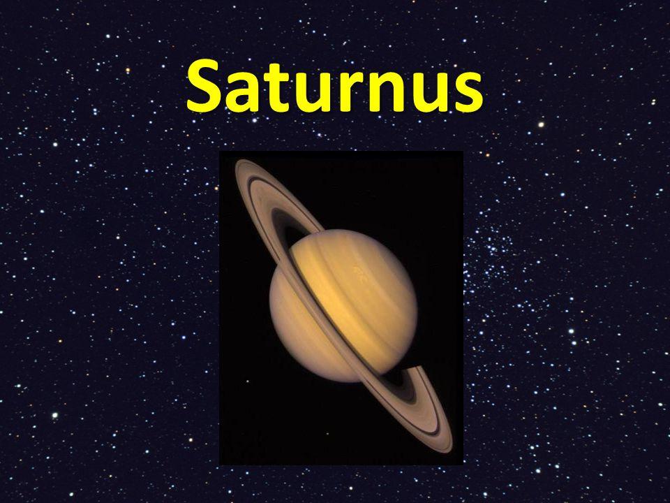 Saturnus Is de op één na grootste planeet Bijna net zo groot als Jupiter De planeet is gasvormig, dus je kunt er nooit op landen.