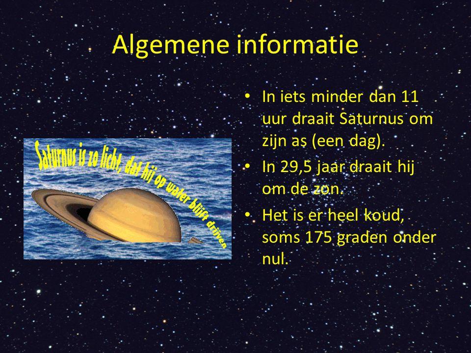 Algemene informatie In iets minder dan 11 uur draait Saturnus om zijn as (een dag). In 29,5 jaar draait hij om de zon. Het is er heel koud, soms 175 g