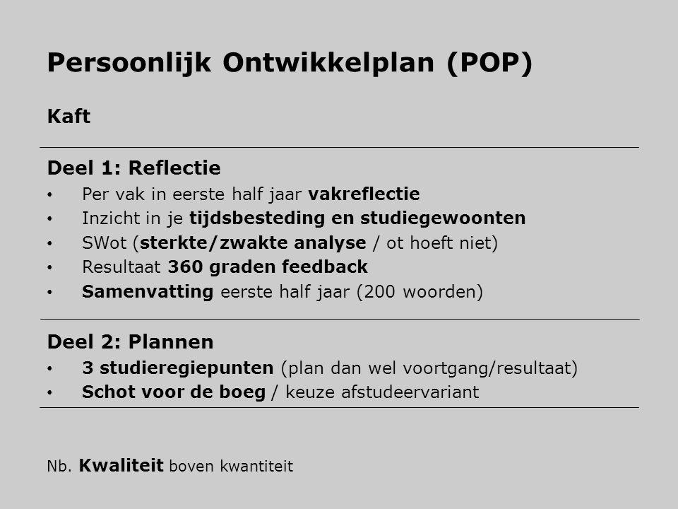 Persoonlijk Ontwikkelplan (POP) Kaft Deel 1: Reflectie Per vak in eerste half jaar vakreflectie Inzicht in je tijdsbesteding en studiegewoonten SWot (