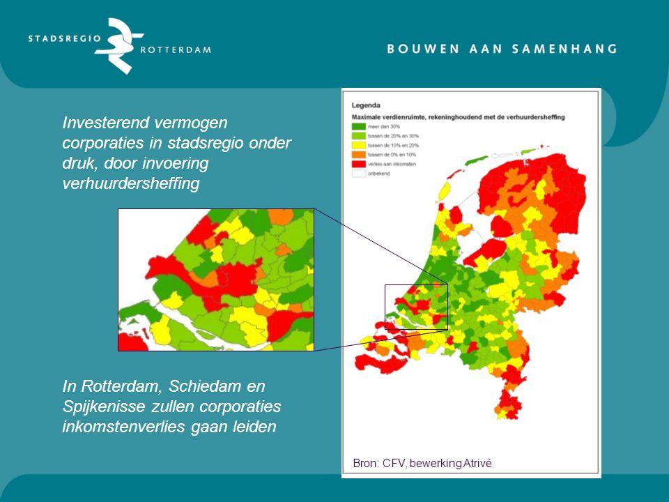 Bron: CFV, bewerking Atrivé In Rotterdam, Schiedam en Spijkenisse zullen corporaties inkomstenverlies gaan leiden Investerend vermogen corporaties in stadsregio onder druk, door invoering verhuurdersheffing