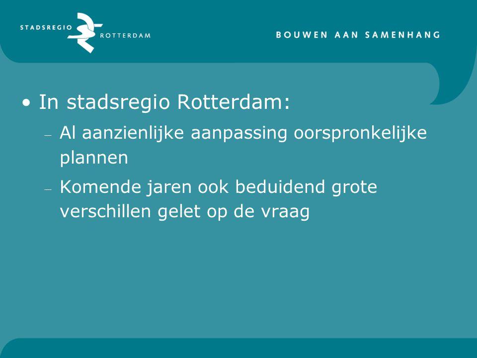 In stadsregio Rotterdam: – Al aanzienlijke aanpassing oorspronkelijke plannen – Komende jaren ook beduidend grote verschillen gelet op de vraag