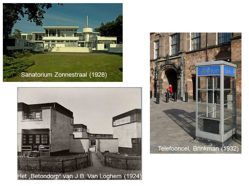 "Sanatorium Zonnestraal (1928) Telefooncel, Brinkman (1932) Het ""Betondorp van J.B."