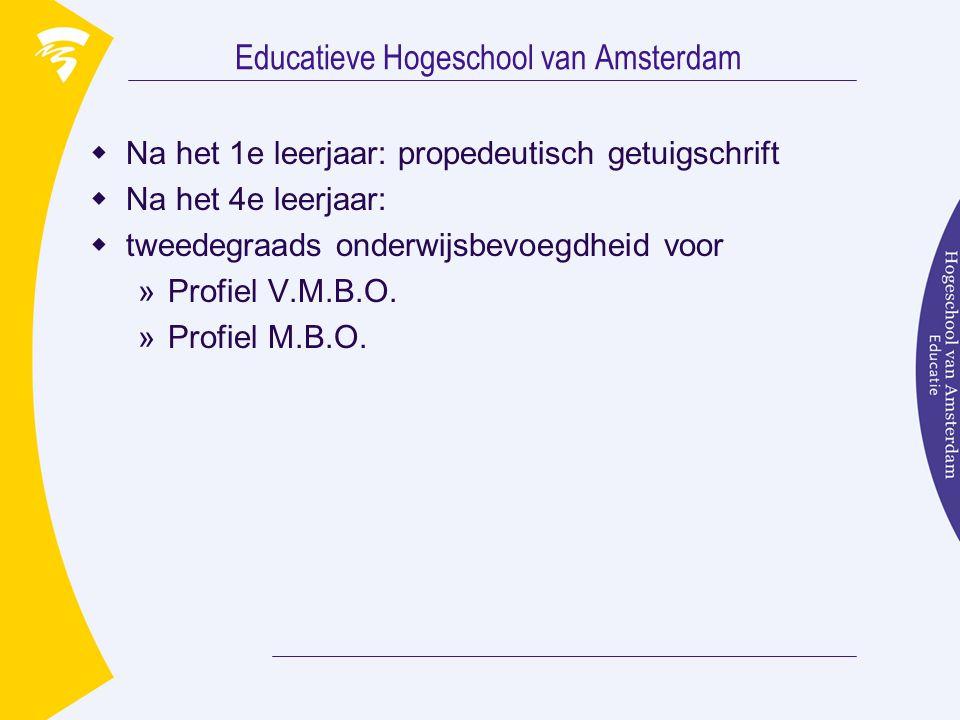 Educatieve Hogeschool van Amsterdam  2 semesters  4 moduleperioden  duur moduleperioden 7-8 weken  na iedere moduleperiode tentamenweken  60 studiepunten per collegejaar  einde 4e collegejaar 240 studiepunten  tweedegraads onderwijsbevoegdheid