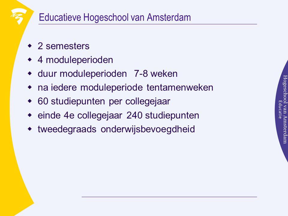 Educatieve Hogeschool van Amsterdam  2 semesters  4 moduleperioden  duur moduleperioden 7-8 weken  na iedere moduleperiode tentamenweken  60 stud