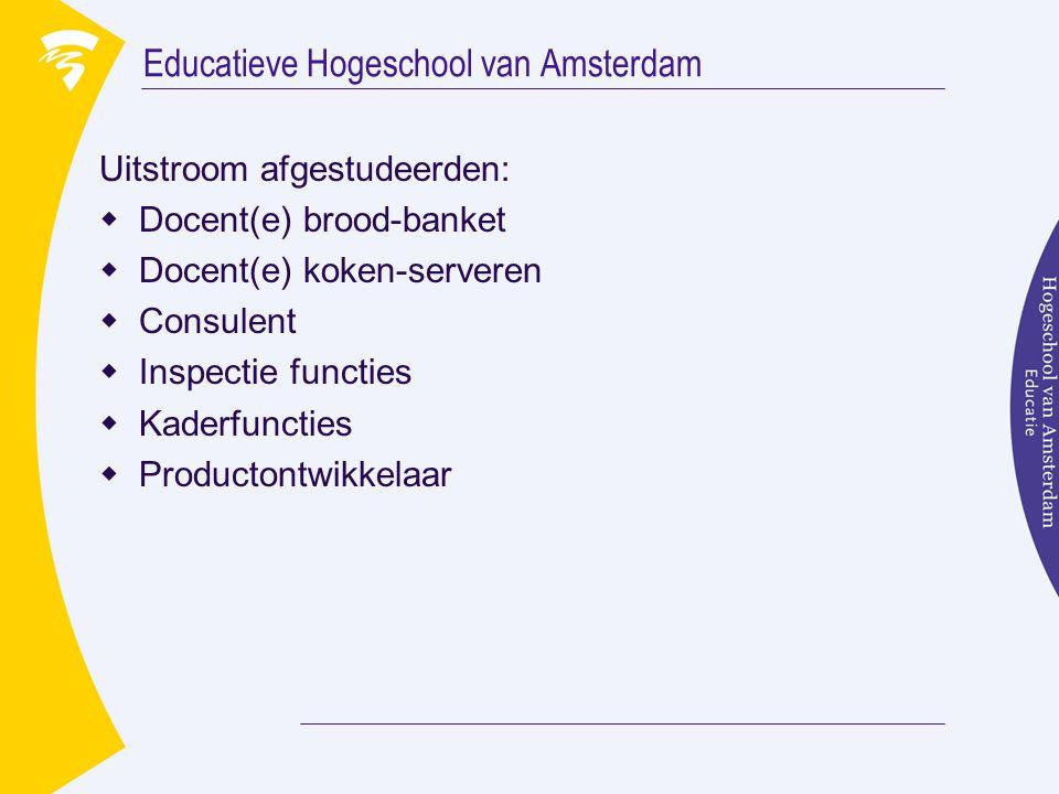 Educatieve Hogeschool van Amsterdam Uitstroom afgestudeerden:  Docent(e) brood-banket  Docent(e) koken-serveren  Consulent  Inspectie functies  K
