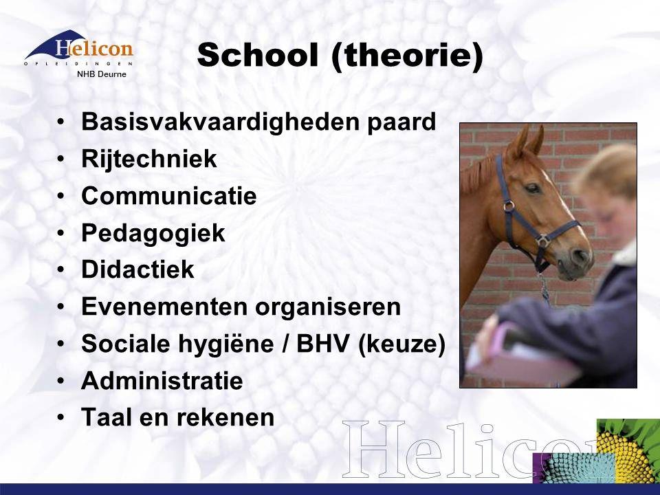 NHB Deurne School (praktijk) Verzorging/horsemanship Rijden/ springen/mennen Lesgeven Stalmanagement Evenementen Ruiter- en koetsiersbewijs  Eigen paard mag, hoeft niet  Gebruik schoolpaard (gedeeld): €500,-- per jaar